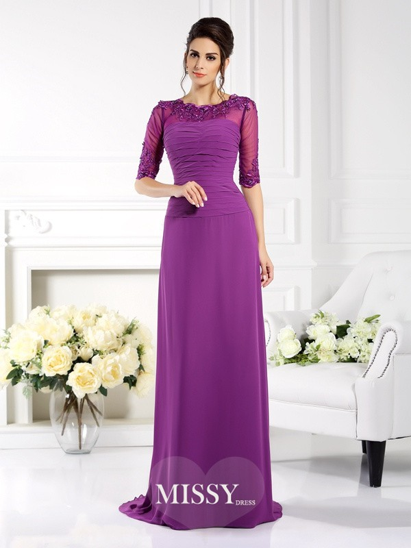 Sheath/Column Scoop 1/2 Sleeves Applique Sweep/Brush Train Chiffon Gowns