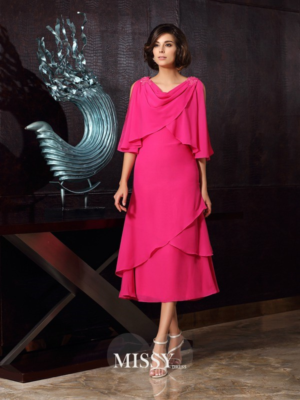 A-Line/Princess Sleeveless Scoop Chiffon Tea-Length Mother of the Bride Gowns