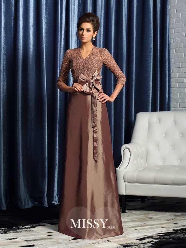 A-Line/Princess V-neck 3/4 Sleeves Taffeta Bowknot Floor-Length Mother of the Bride Gowns