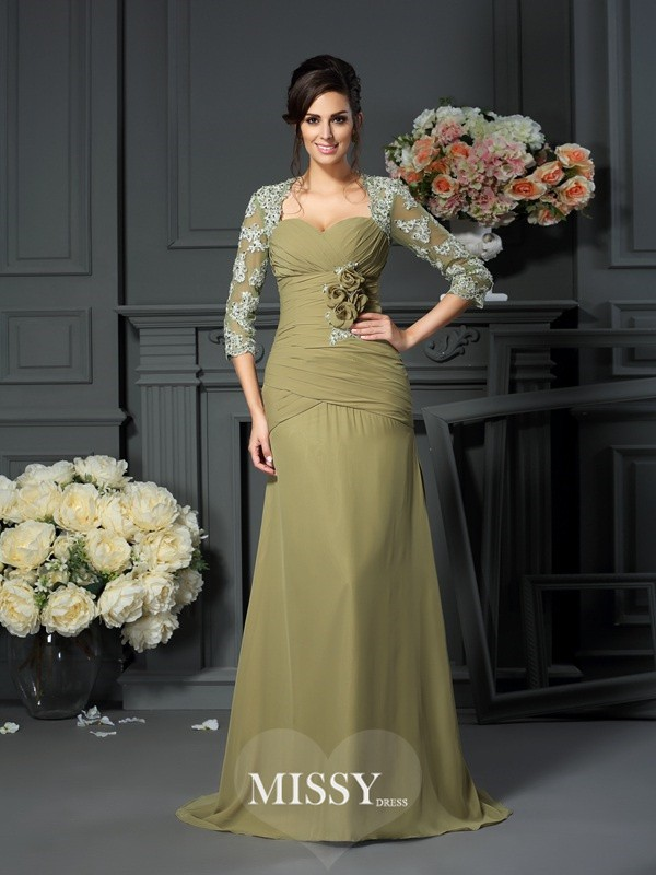 A-Line/Princess Sweetheart Hand-Made Flower 1/2 Sleeves Floor-Length Chiffon Mother of the Bride Gowns