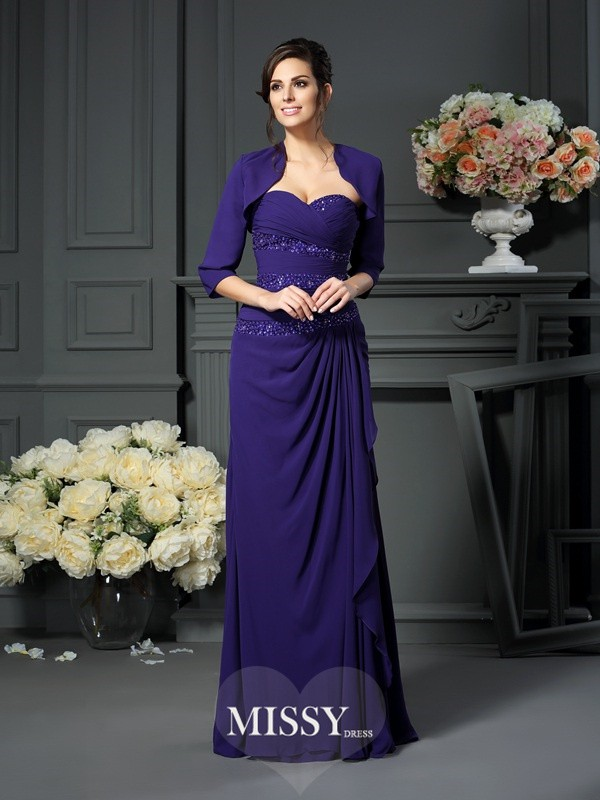 A-Line/Princess Sweetheart Beading Sleeveless Long Chiffon Mother of the Bride Gowns