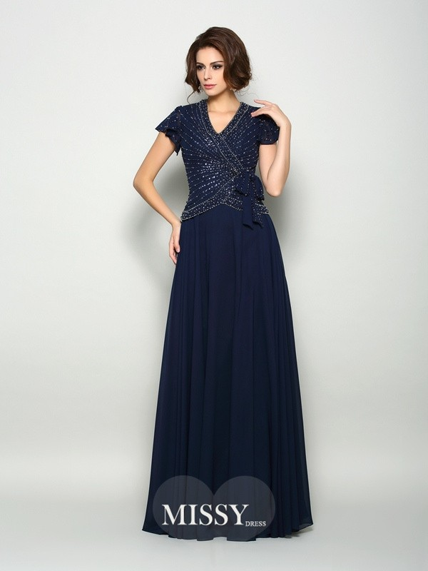 A-Line/Princess Short Sleeves V-neck Beading Floor-Length Chiffon Mother of the Bride Dresses
