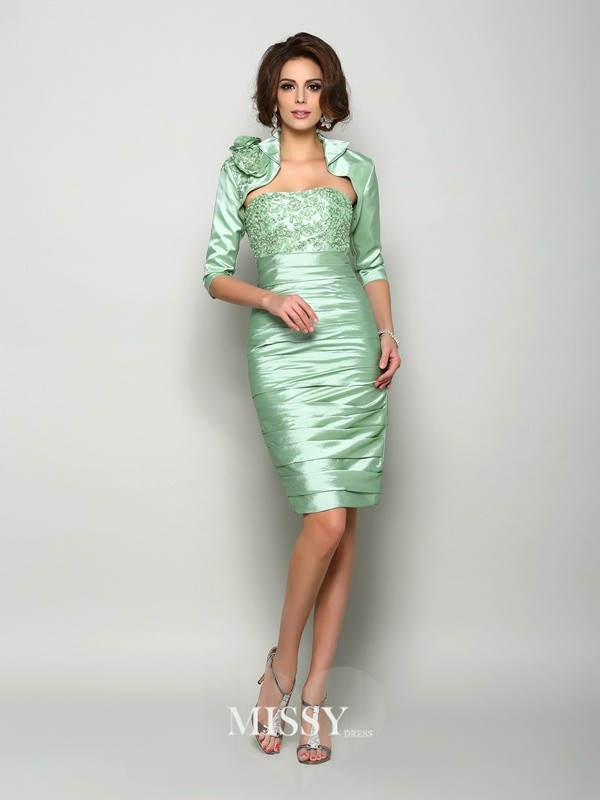 Sheath Sleeveless Strapless Taffeta Knee-Length Applique Mother of the Bride Dresses