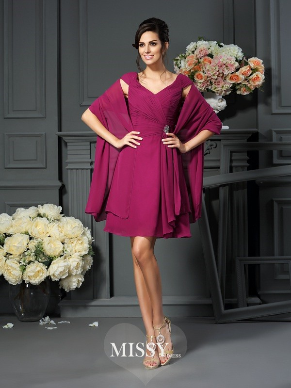 Princess V-neck Pleats Sleeveless Knee-Length Chiffon Mother of the Bride Dresses