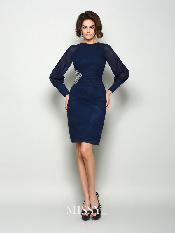 Sheath/Column Long Sleeves High Neck Chiffon Knee-Length Beading Mother of the Bride Dresses