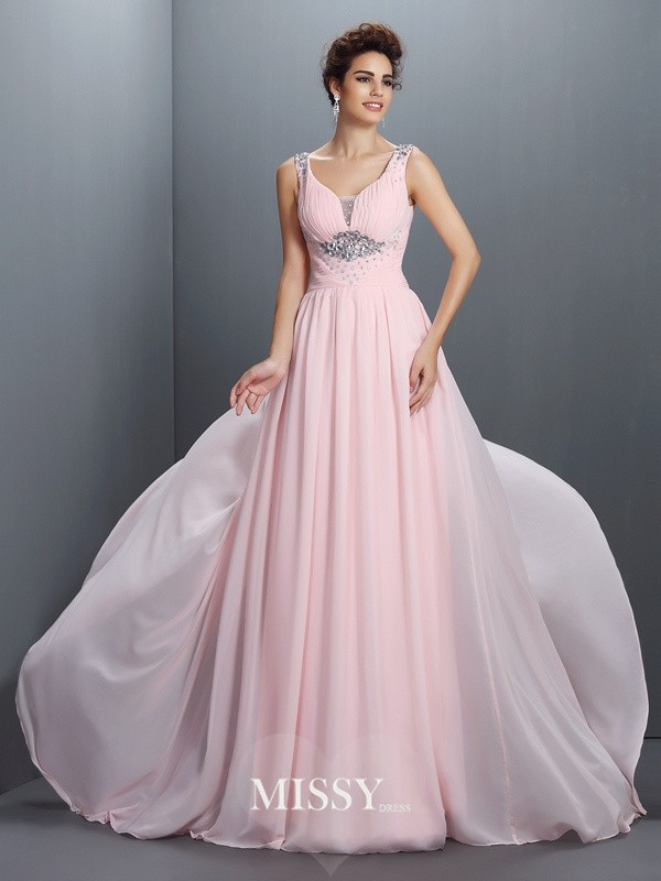 A-Line/Princess Straps Beading Sweep/Brush Train Chiffon Dresses