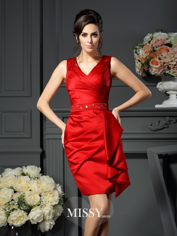 Sheath/Column V-neck Knee-Length Satin Ruched Dresses