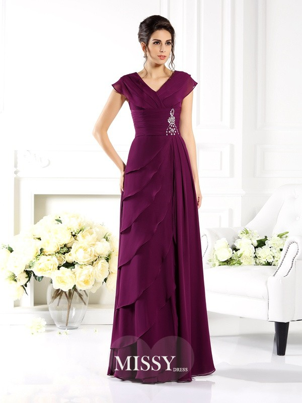A-Line/Princess V-neck Short Sleeves Long Chiffon Mother of the Bride Dresses