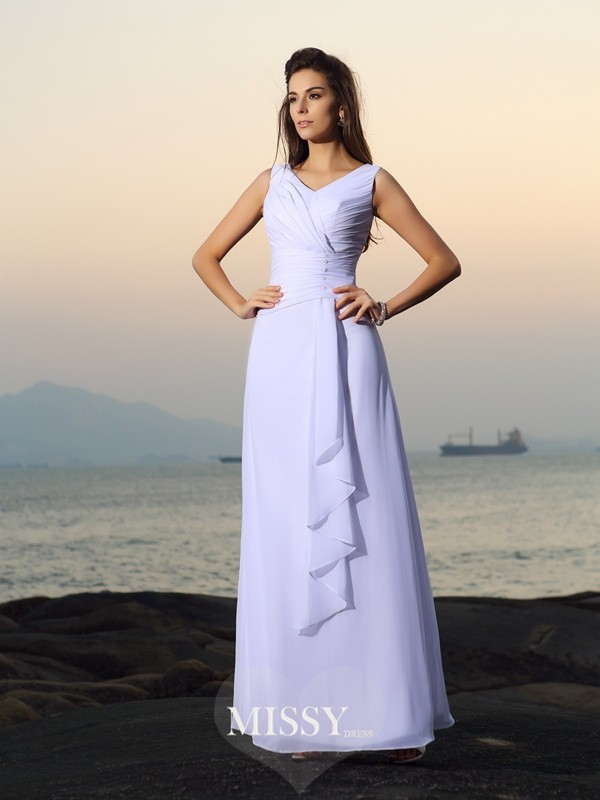 A-Line/Princess V-neck Chiffon Beading Pleats Floor-length Wedding Dresses