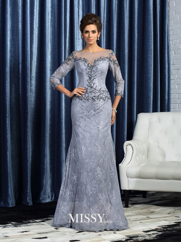 Trumpet/Mermaid Bateau 3/4 Sleeves Lace Beading Sweep/Brush Train Mother of the Bride Dresses