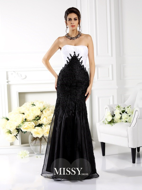 Trumpet/Mermaid Strapless Sleeveless Applique Floor-Length Tulle Gowns