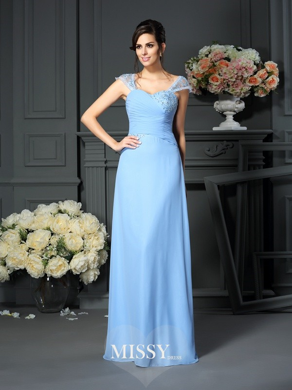 Sheath/Column Straps Pleats Floor-Length Chiffon Mother of the Bride Dresses