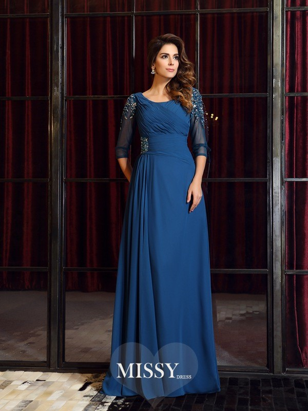 A-Line/Princess 1/2 Sleeves Square Chiffon Floor-Length Ruched Dresses