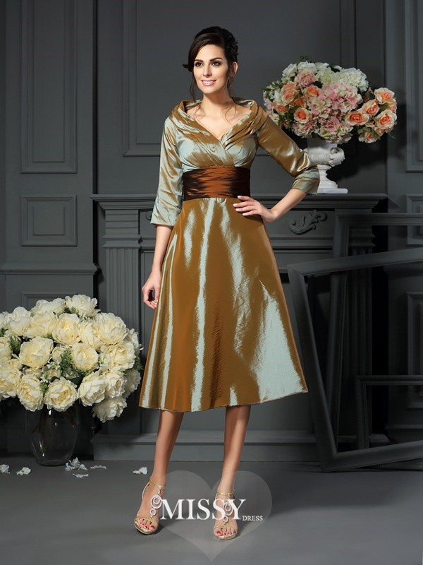 A-Line/Princess 3/4 Sleeves V-neck Taffeta Tea-Length Mother of the Bride Dresses