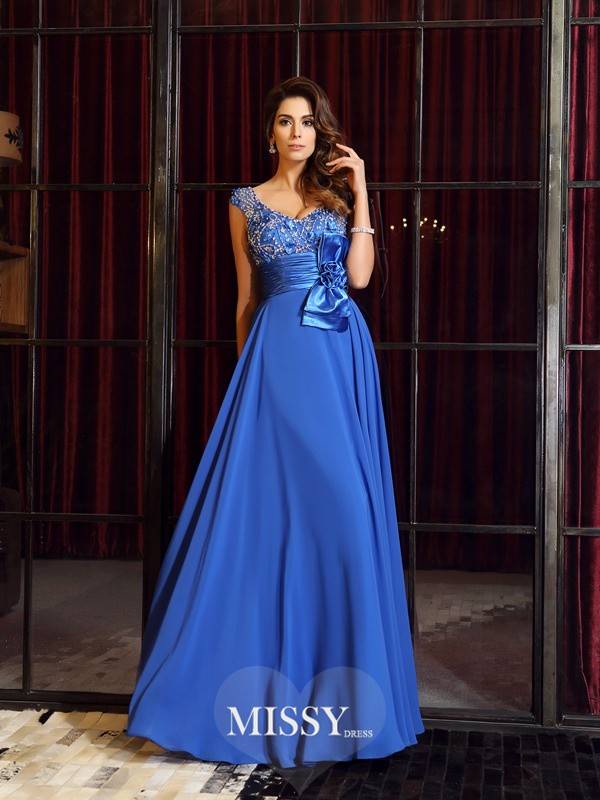 A-Line/Princess Straps Chiffon Floor-Length Hand-Made Flower Dresses