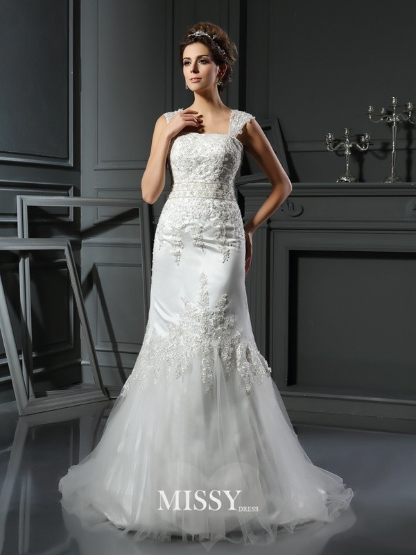 Trumpet/Mermaid Straps Satin Court Train Applique Wedding Dresses