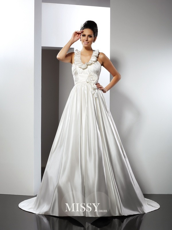 A-Line/Princess Halter Hand-Made Flower Chapel Train Satin Wedding Dresses