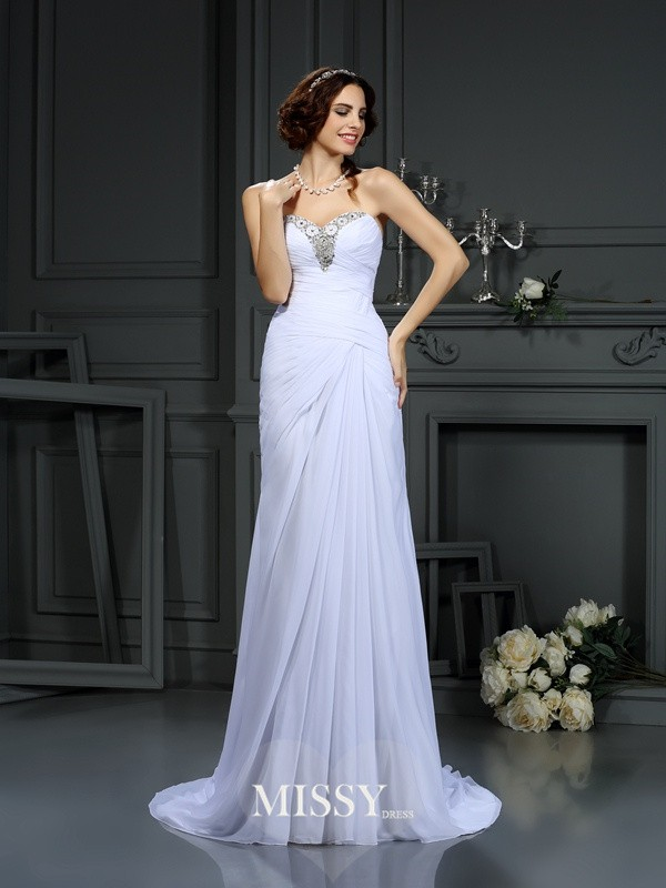 Sheath/Column Sweetheart Sweep/Brush Train Beading Chiffon Wedding Dresses