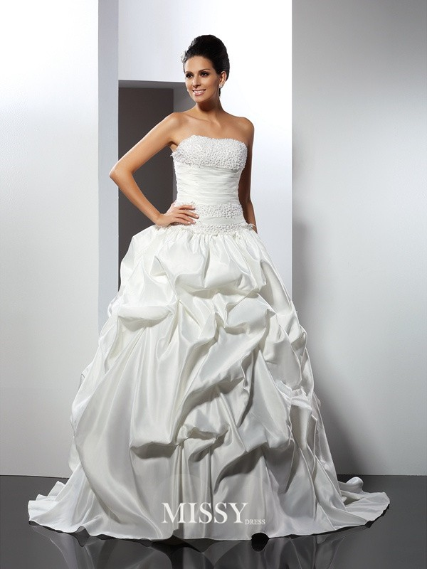 Ball Gown Strapless Cathedral Train Satin Wedding Dresses