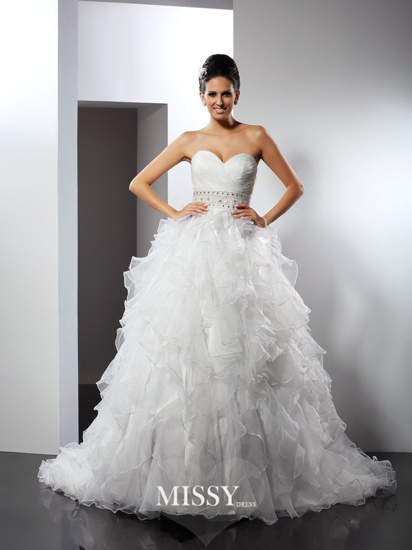 Ball Gown Sweetheart Ruffles Chapel Train Organza Wedding Dresses