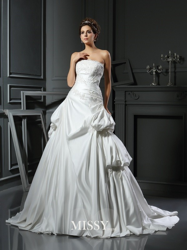 Ball Gown Strapless Satin Applique Chapel Train Wedding Dresses