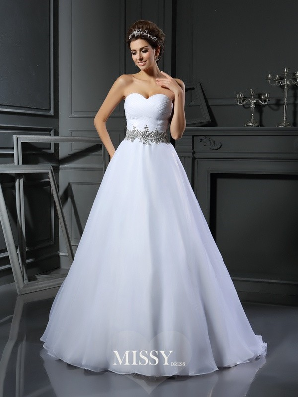 Ball Gown Sweetheart Satin Beading Court Train Wedding Dresses