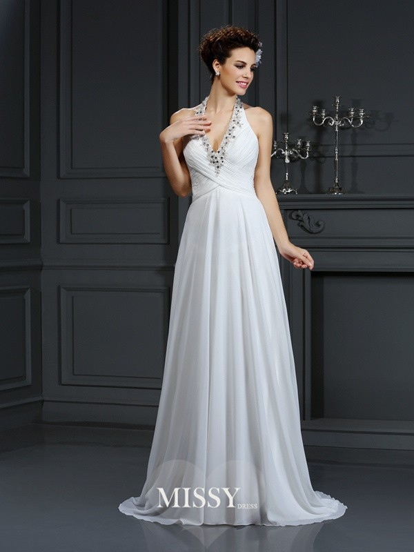 A-Line/Princess Halter Beading Court Train Chiffon Wedding Dresses