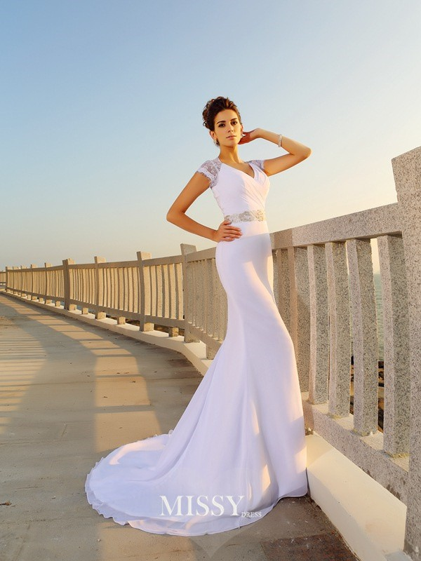 Sheath/Column Beading V-neck Court Train Chiffon Wedding Dresses