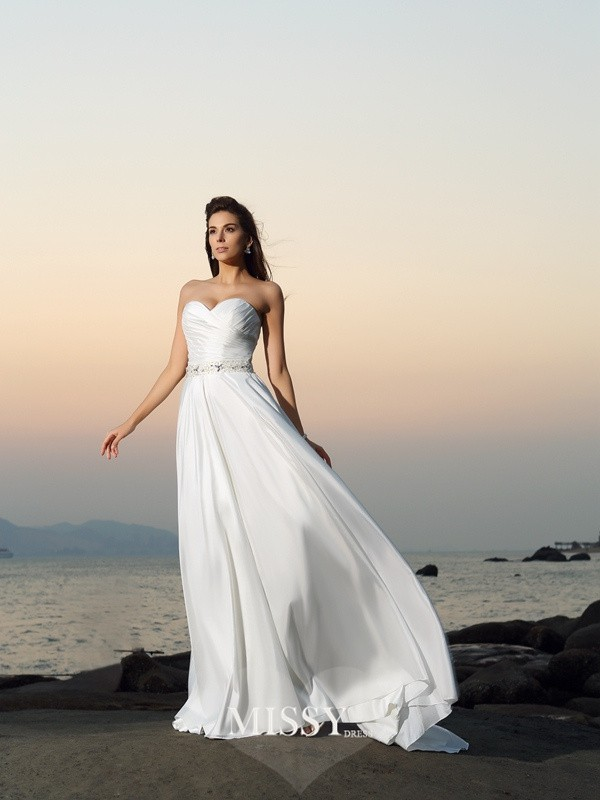 A-Line/Princess Taffeta Sweetheart Chapel Train Beading Wedding Dresses