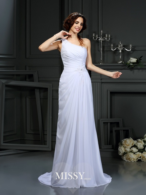 A-Line/Princess One-Shoulder Court Train Chiffon Pleats Wedding Dresses