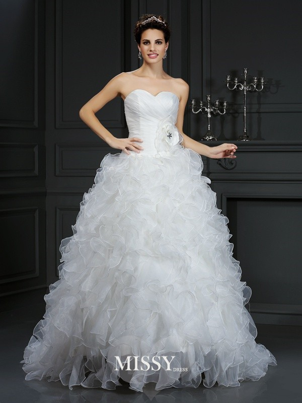 Ball Gown Sweetheart Hand-Made Flower Court Train Organza Wedding Dresses