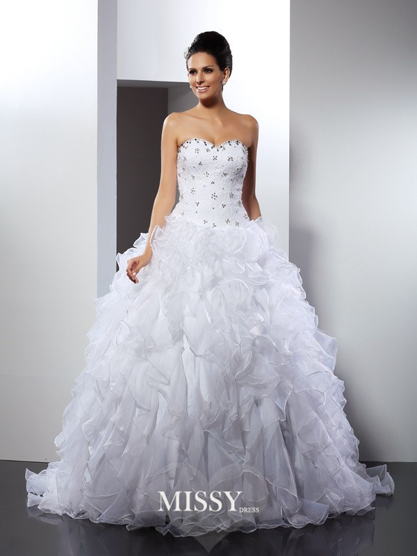 Ball Gown Sweetheart Ruffles Court Train Satin Wedding Dresses