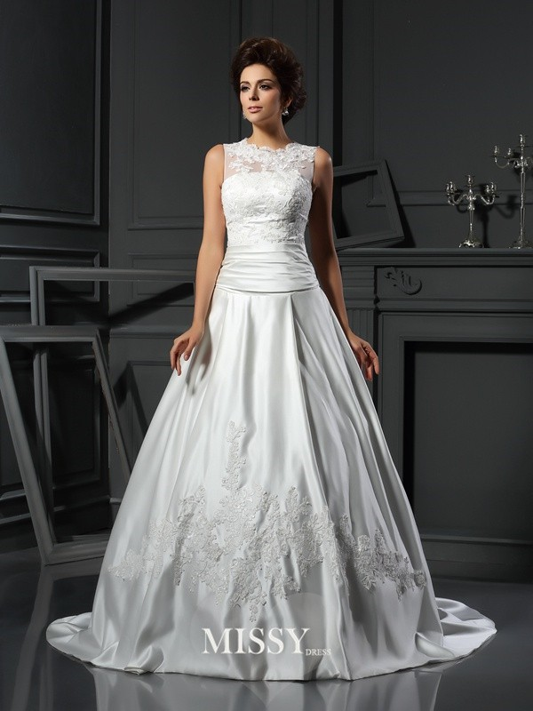 A-Line/Princess High Neck Chapel Train Satin Applique Wedding Dresses