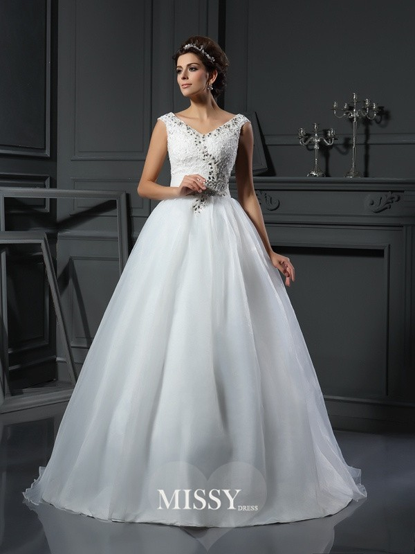 A-Line/Princess V-neck Beading Organza Chapel Train Wedding Dresses