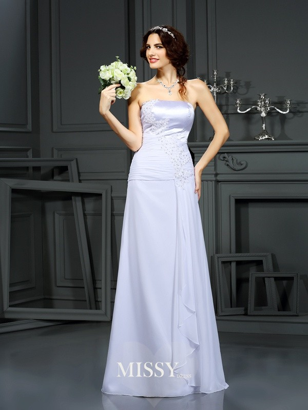 Sheath/Column Strapless Beading Chiffon Sweep/Brush Train Wedding Dresses