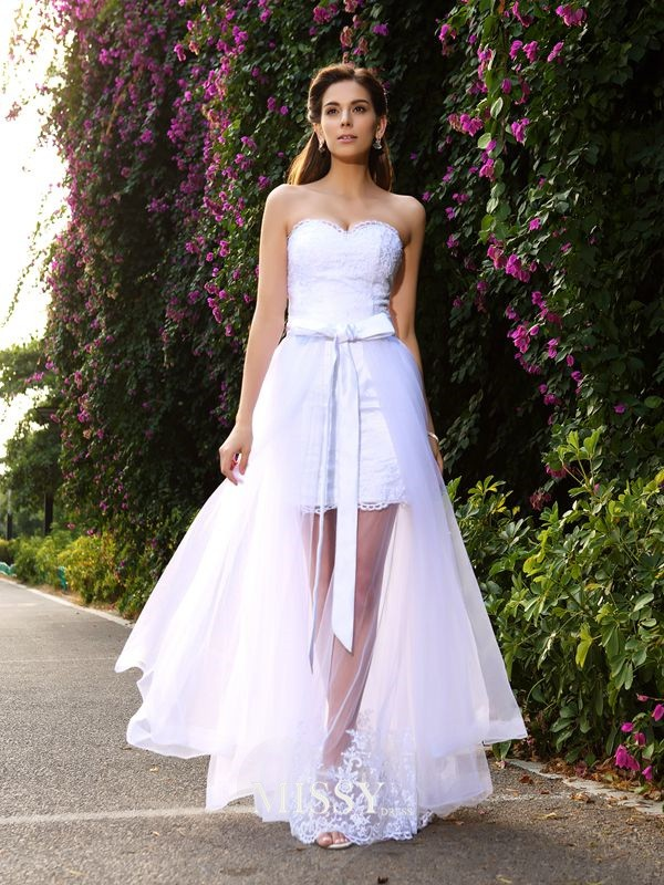 Trumpet/Mermaid Floor-Length Sweetheart Applique Tulle Wedding Dresses