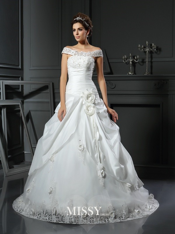 Ball Gown Off-the-Shoulder Hand-Made Flower Satin Chapel Train Wedding Dresses