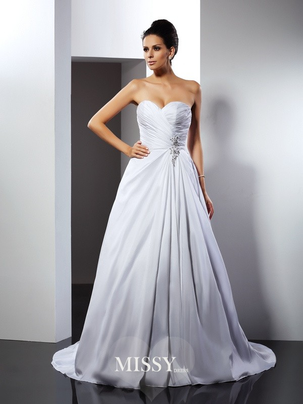 A-Line/Princess Sweetheart Ruffles Court Train Satin Wedding Dresses
