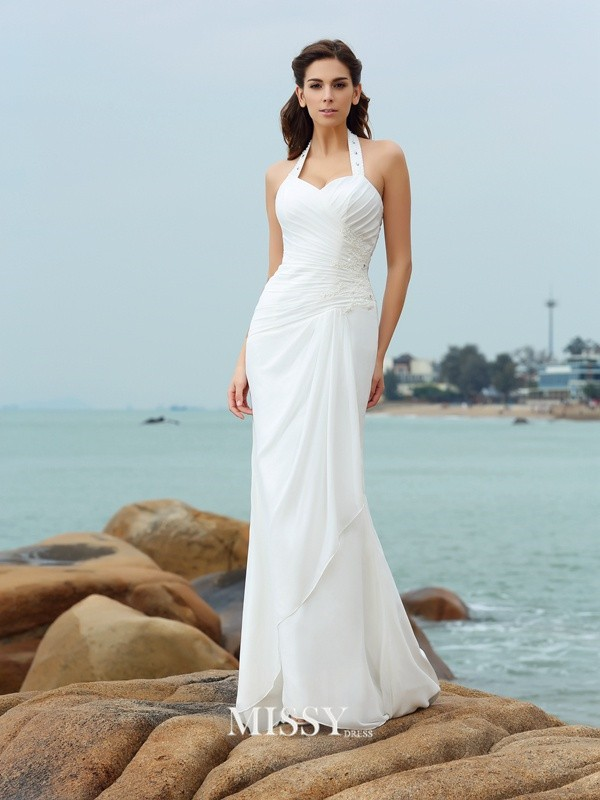 Sheath/Column Pleats Halter Court Train Chiffon Wedding Dresses