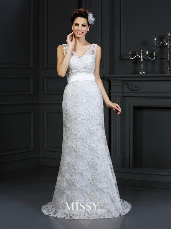 Trumpet/Mermaid Sweetheart Applique Chapel Train Lace Wedding Dresses