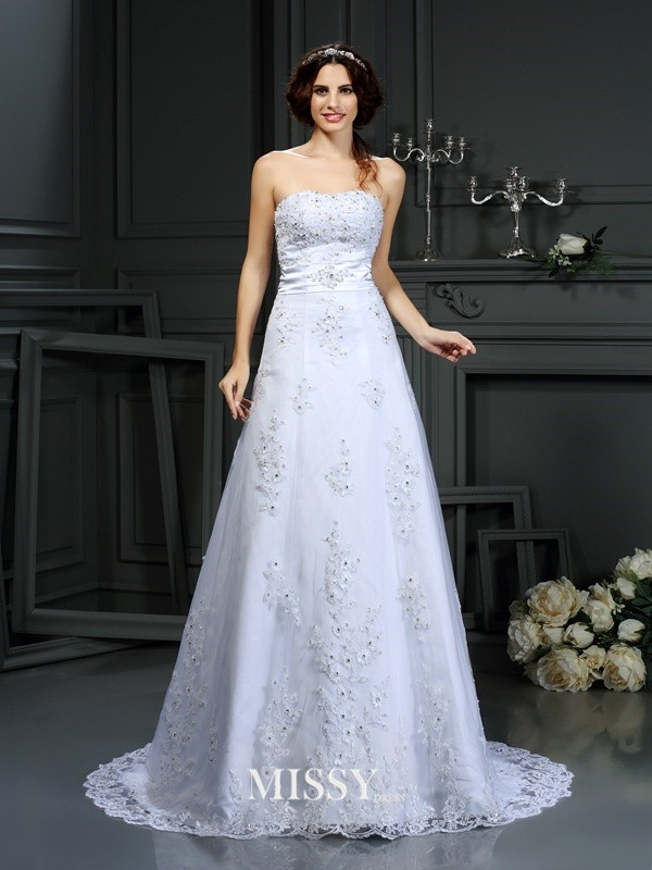 A-Line/Princess Strapless Applique Satin Court Train Wedding Dresses