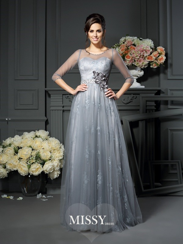 A-Line/Princess Scoop 1/2 Sleeves Floor-Length Lace Satin Mother of the Bride Dresses