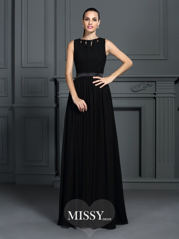A-Line/Princess Scoop Sleeveless Pleats Floor-Length Chiffon Gowns