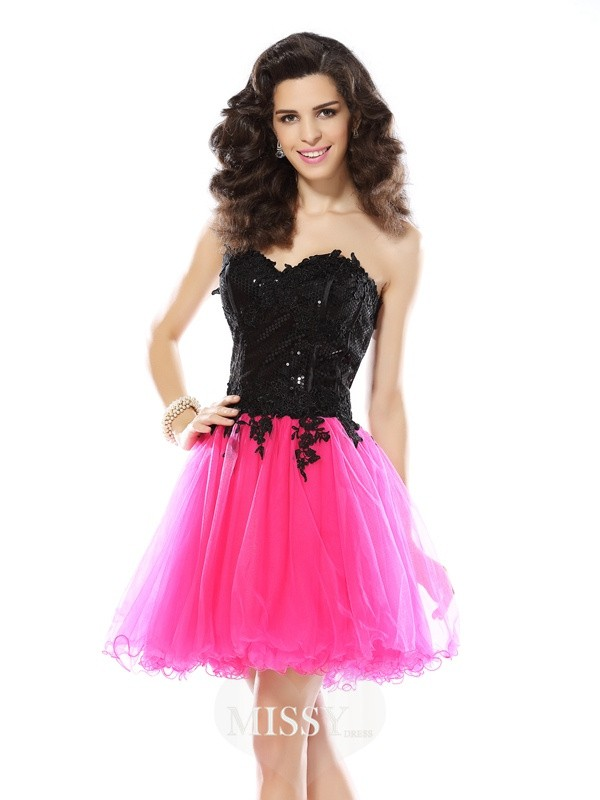 A-Line/Princess Sweetheart Lace Sleeveless Short/Mini Net Gowns