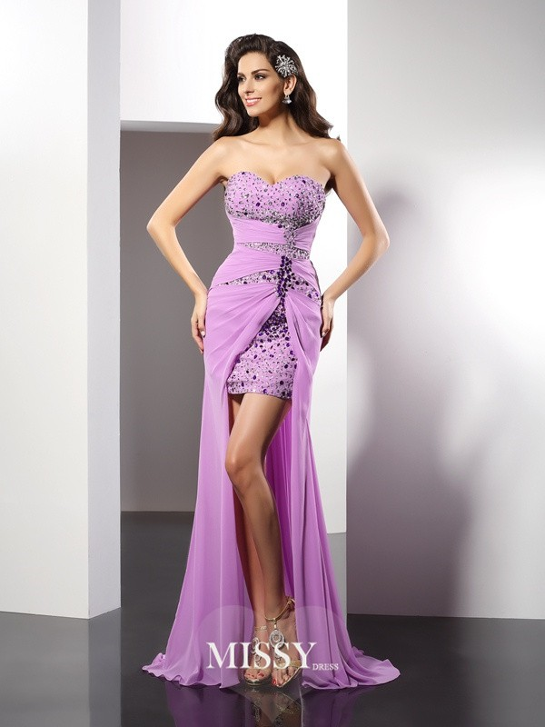 Sheath/Column Sweetheart Beading Sleeveless Floor-Length Silk like Satin Gowns