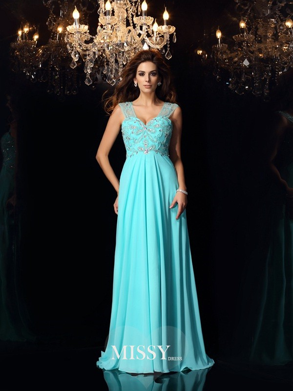 A-Line/Princess Sweetheart Beading Chiffon Brush Train Dresses
