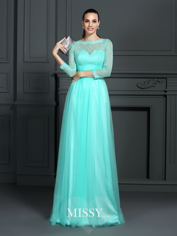 A-Line/Princess Bateau 3/4 Sleeves Lace Sweep/Brush Train Elastic Woven Satin Gowns