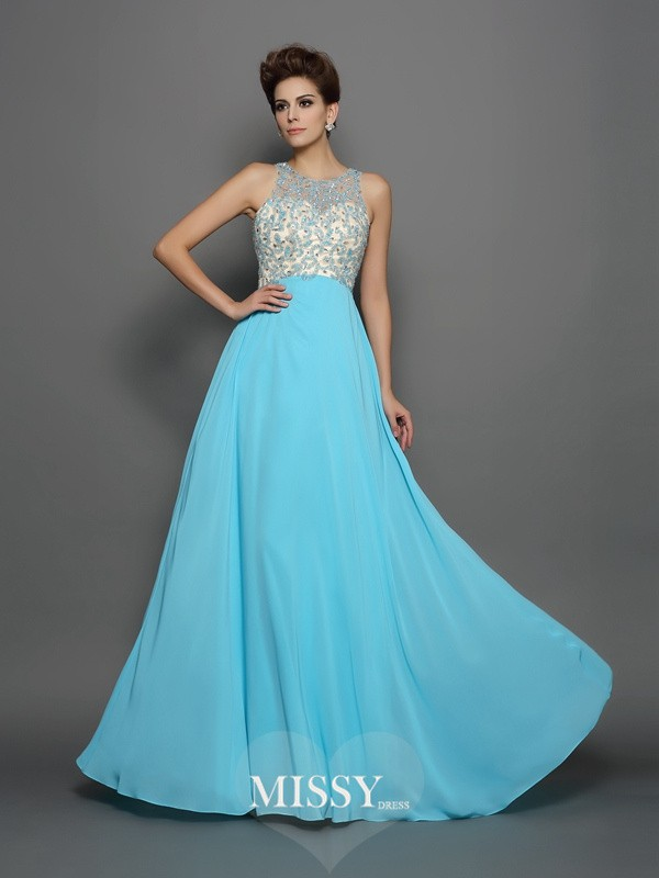 A-Line/Princess Scoop Chiffon Beading Sweep/Brush Train Dresses