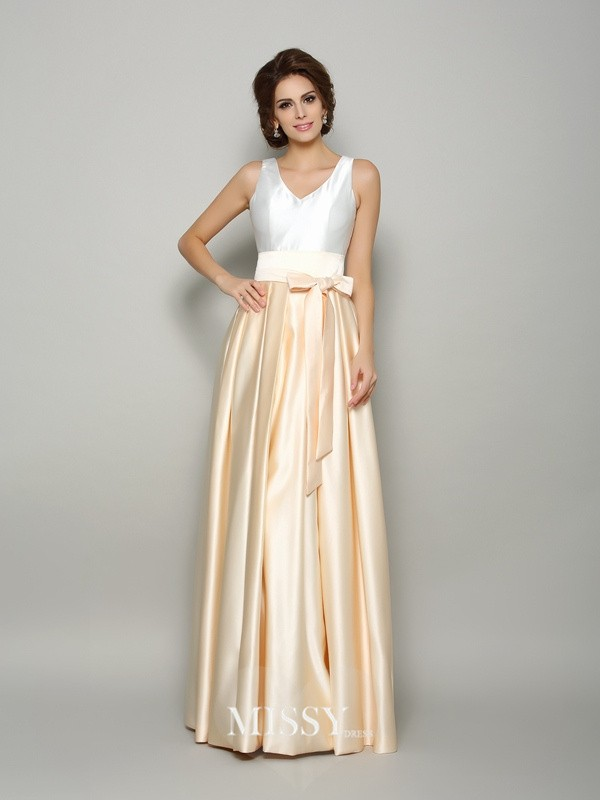 A-Line/Princess Satin V-neck Floor-Length Bowknot Dresses