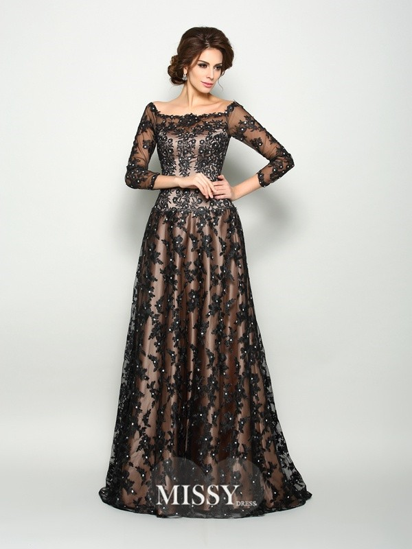 A-Line/Princess Off-the-Shoulder 3/4 Sleeves Satin Lace Court Train Dresses
